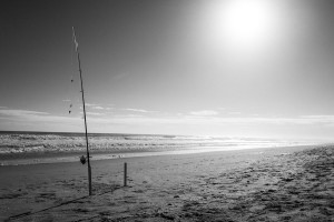 Surf Fishing Pole on the beach in the Outer Banks