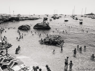 Swimmers and boats at Capri Island in Itlay