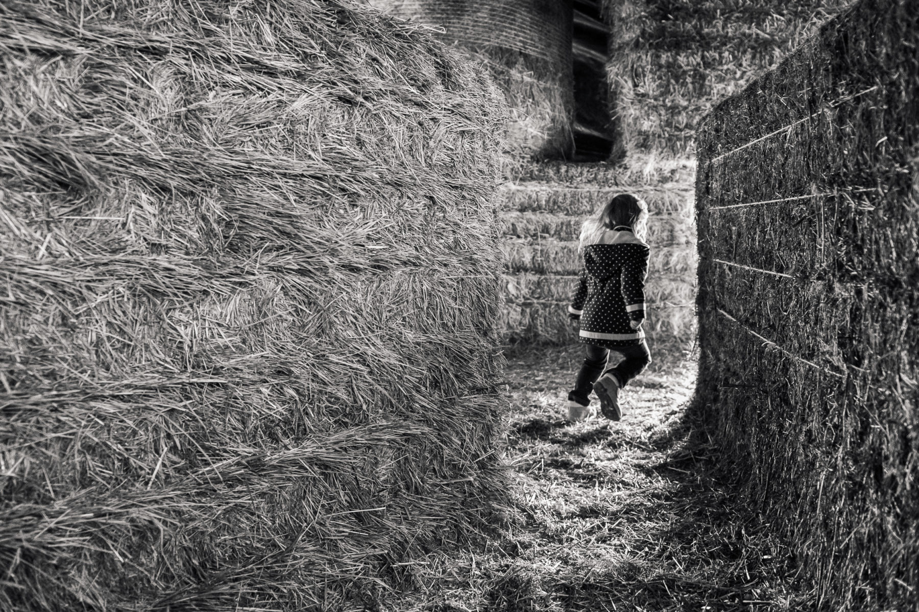 girl running into hay maze