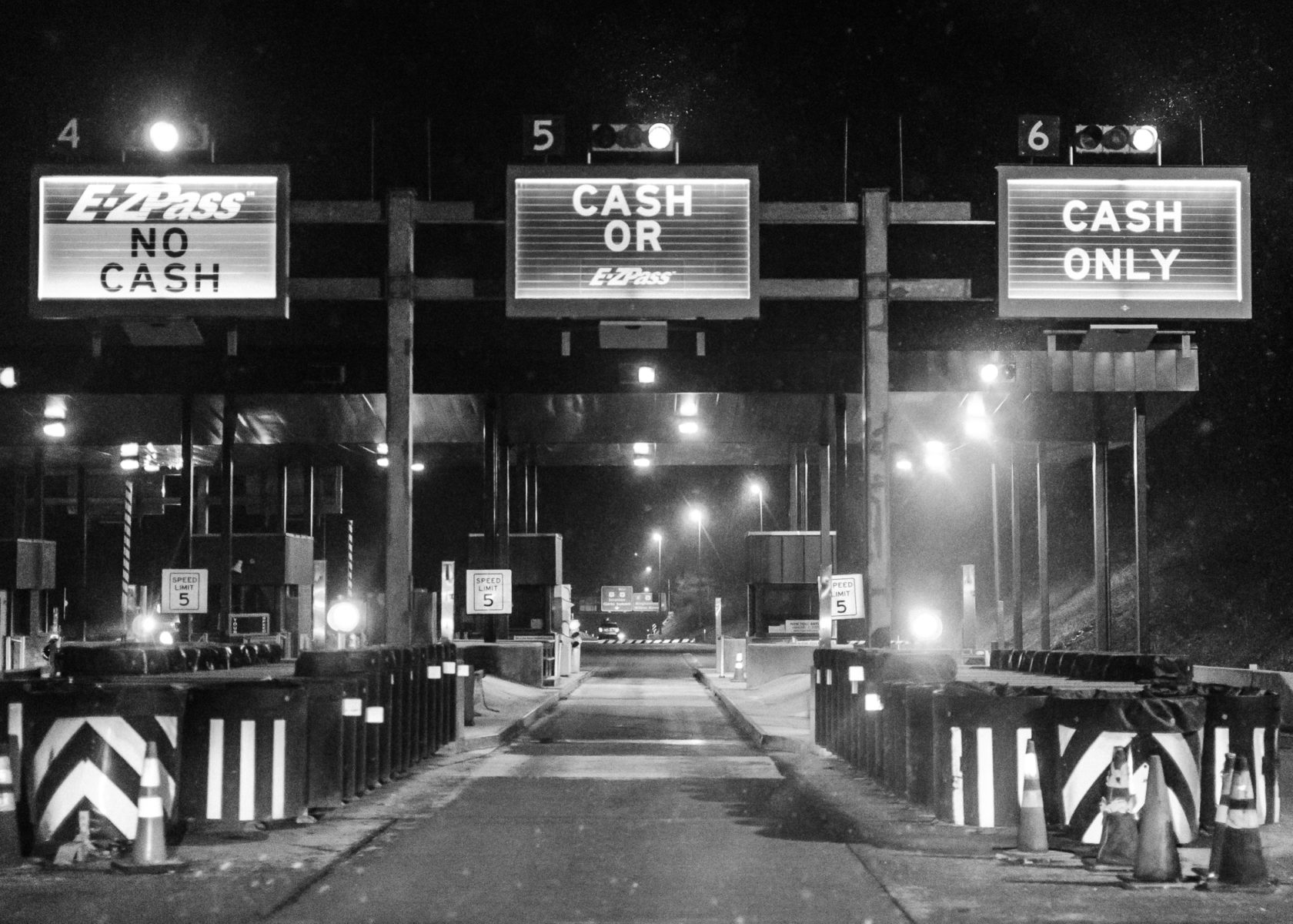 toll plaza in Pennsylvania at night during the snow