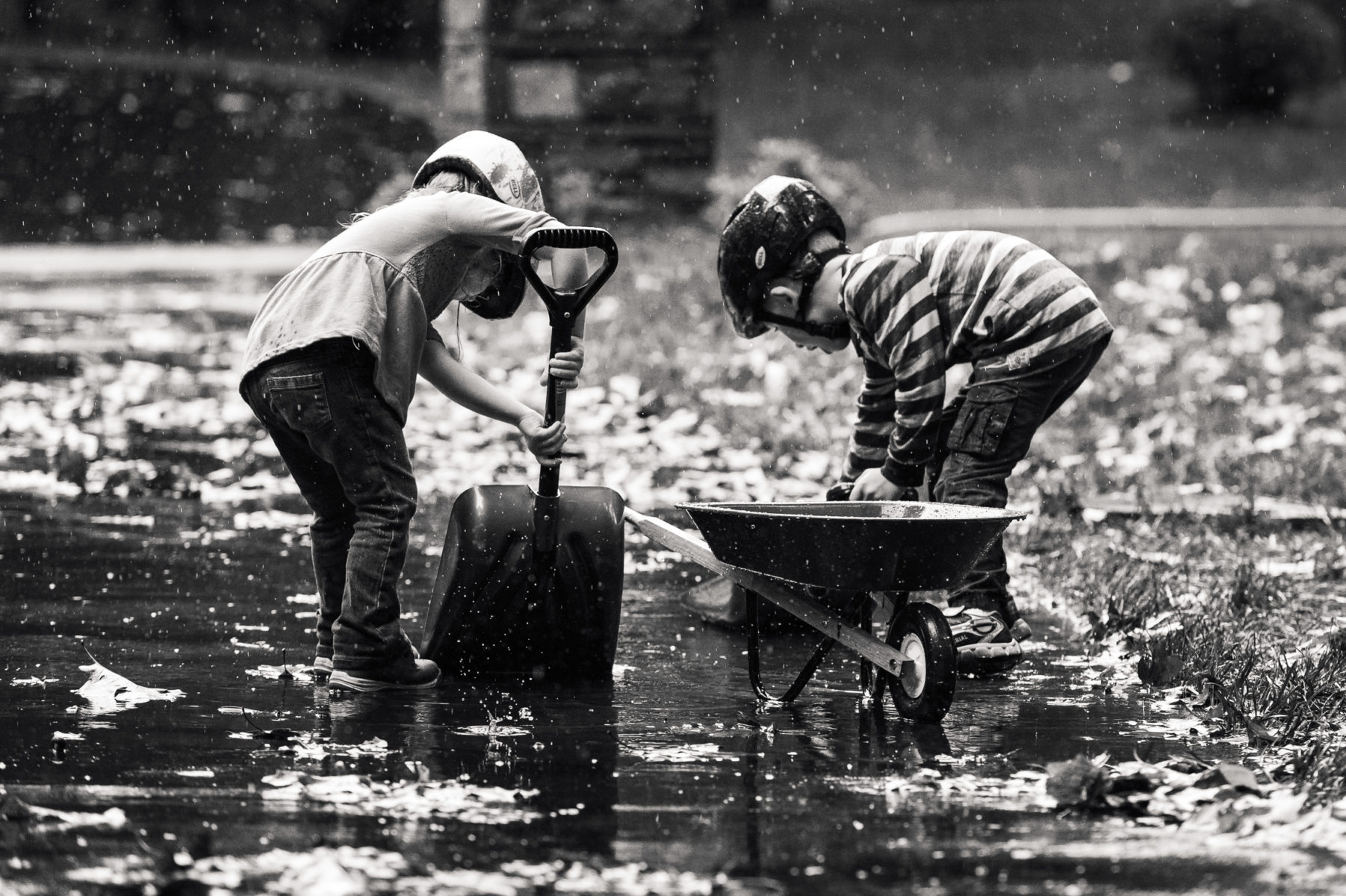 brother and sister shoveling rain into a wheelbarrow