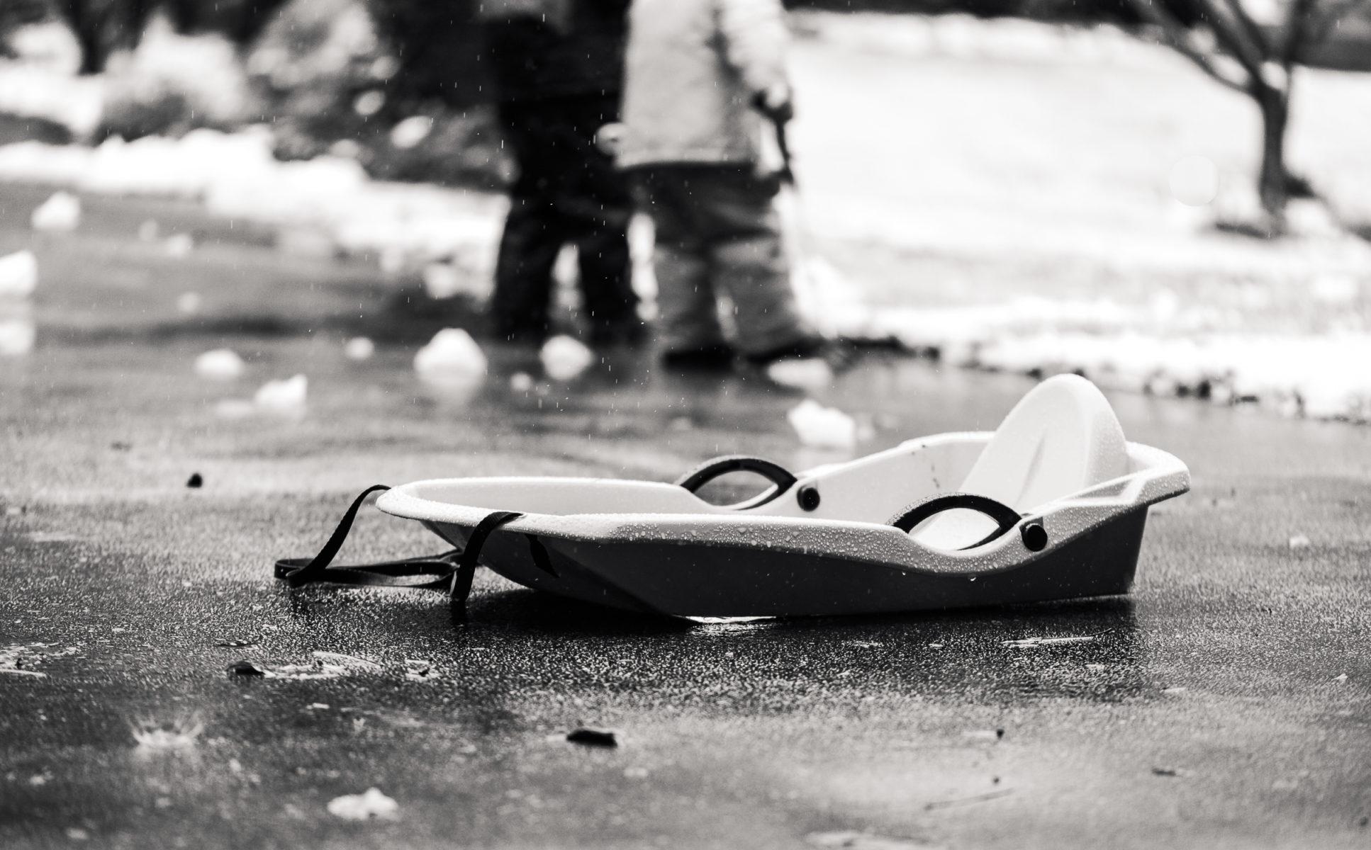 sled on a snow day fail