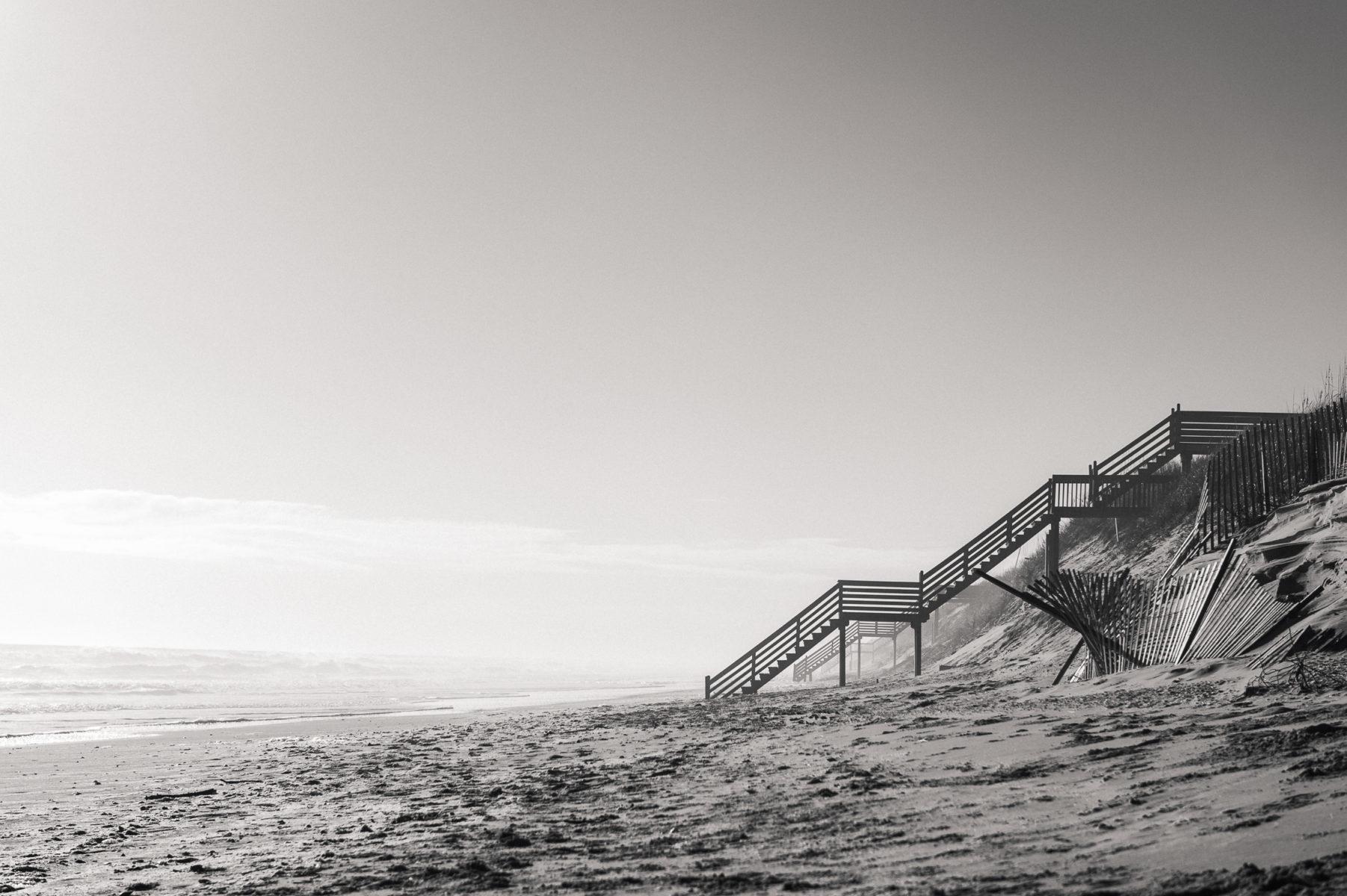 empty beach and stairs in Corolla North Carolina