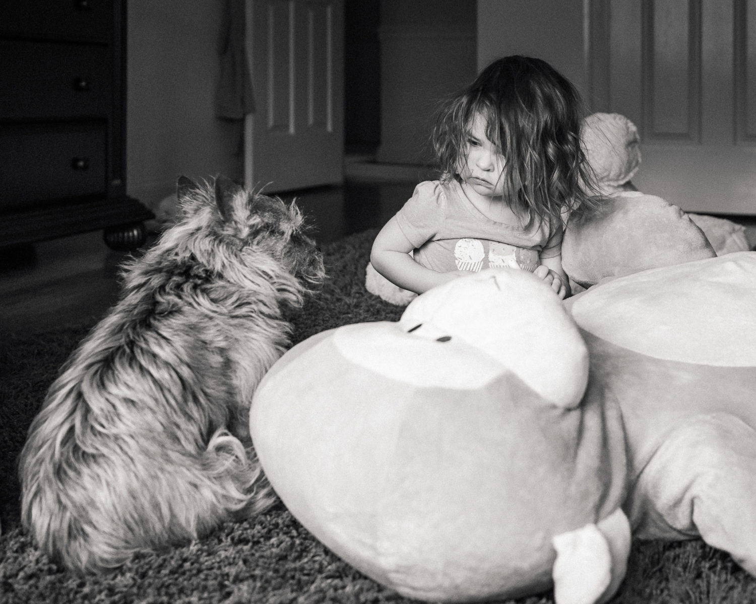 Toddler and dog looking at each other